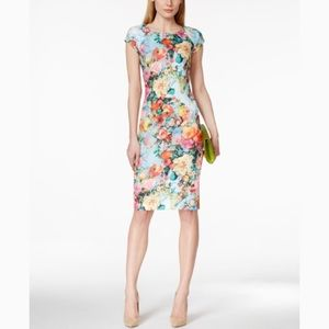 Eci Floral Cap Sleeve Scuba Sheath Dress- 14